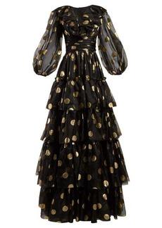 Dolce & Gabbana Polka dot-print tiered silk-organza gown