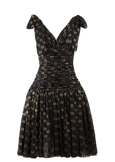 Dolce & Gabbana Polka-dot ruched fil coupé dress