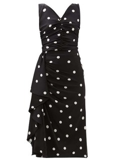 Dolce & Gabbana Polka-dot ruched silk-blend midi dress