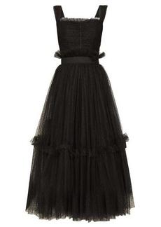 Dolce & Gabbana Polka-dot ruched tulle midi dress