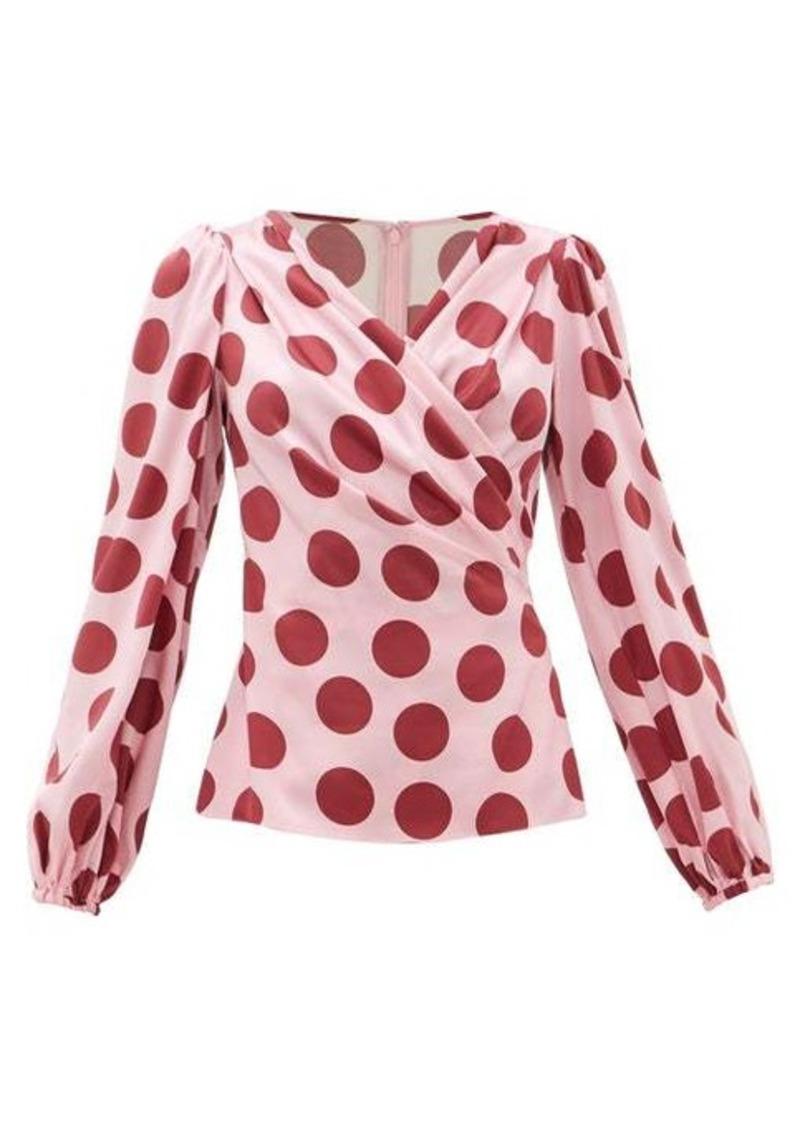 Dolce & Gabbana Polka-dot silk-blend satin blouse