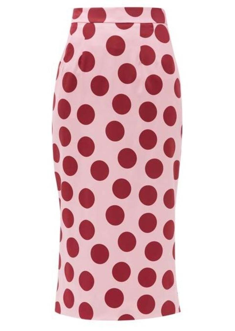 Dolce & Gabbana Polka-dot silk-blend satin pencil skirt