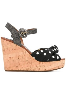 Dolce & Gabbana polka dot wedge sandals - Black