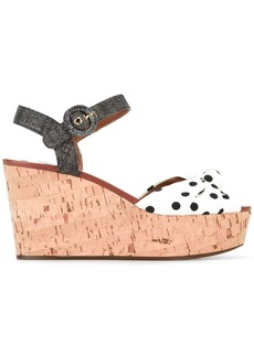 Dolce & Gabbana polka dot wedge sandals - White