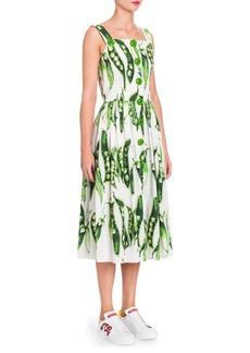 Dolce & Gabbana Poplin Peapod-Print Dress