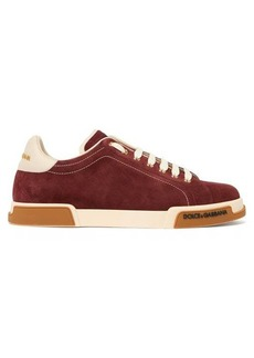 Dolce & Gabbana Portofino leather-trimmed suede trainers