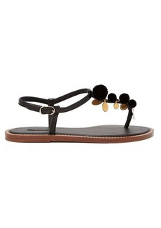 Dolce & Gabbana Portofino T-bar and pompom leather sandals