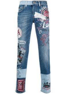 Dolce & Gabbana printed slim-fit jeans - Blue