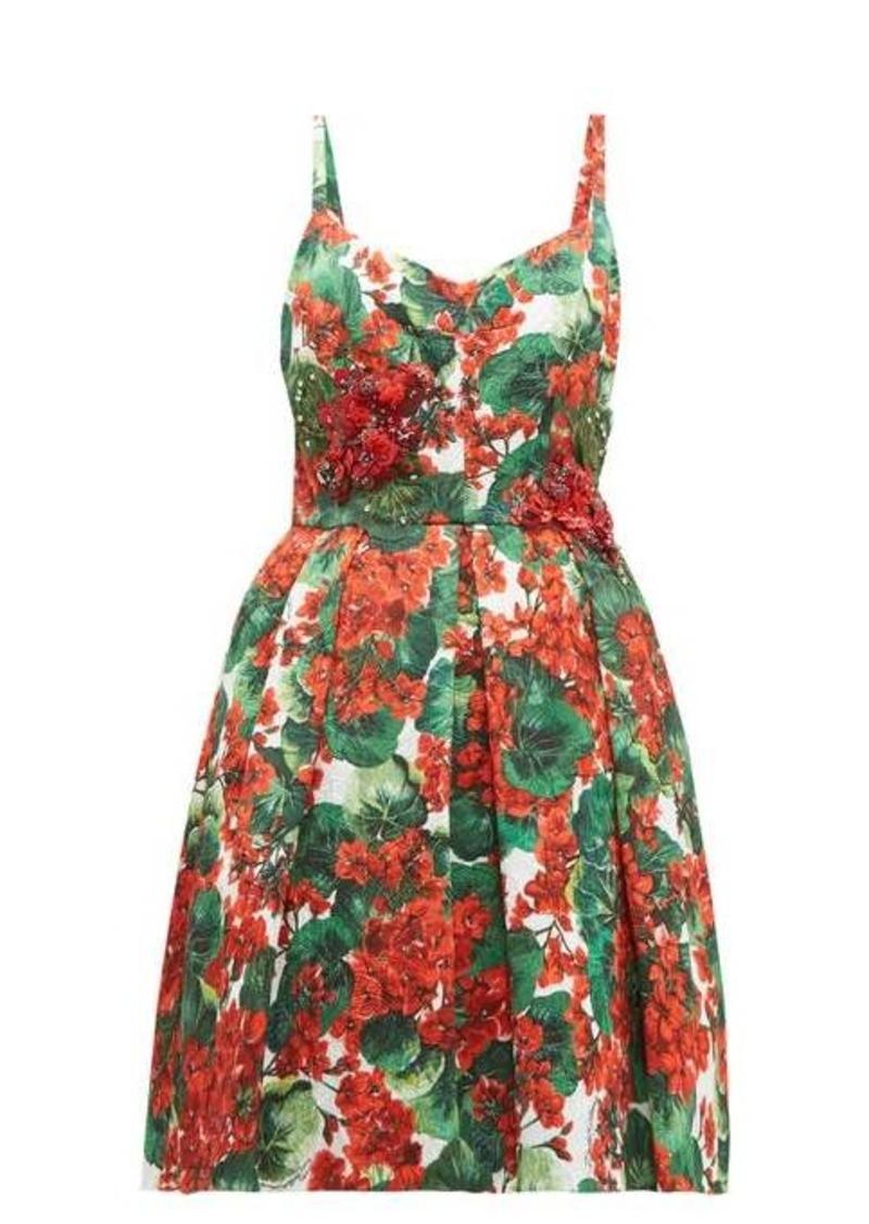 Dolce & Gabbana Puffed geranium-print cloqué mini dress