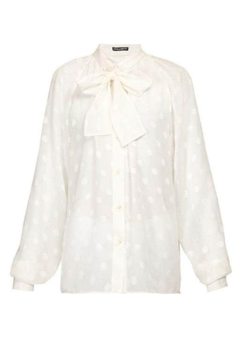 Dolce & Gabbana Pussy-bow fil-coupé silk-chiffon blouse