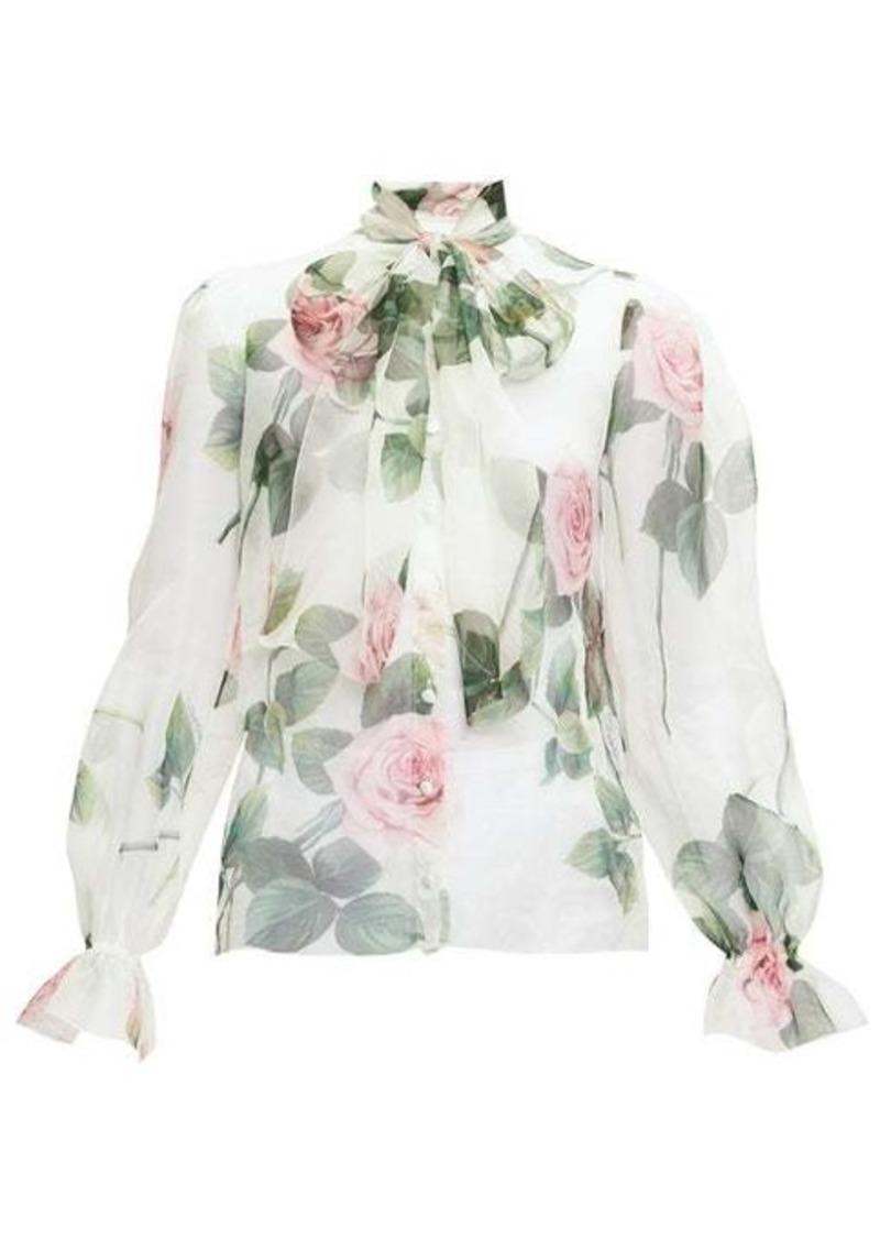 Dolce & Gabbana Pussy-bow rose-print silk-organza blouse