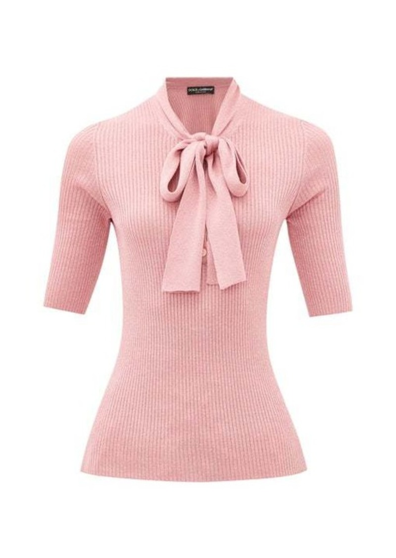 Dolce & Gabbana Pussy-bow Lurex-knit ribbed top