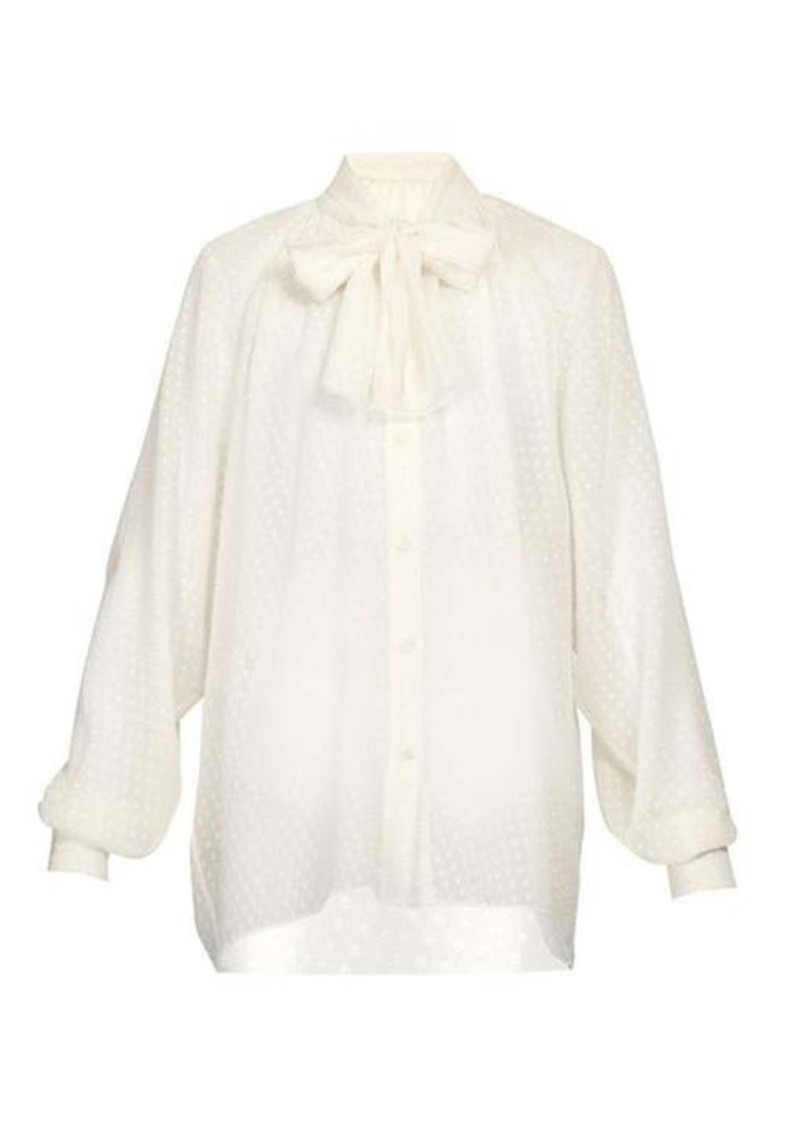 Dolce & Gabbana Pussy-bow polka-dot fil-coupé silk blouse