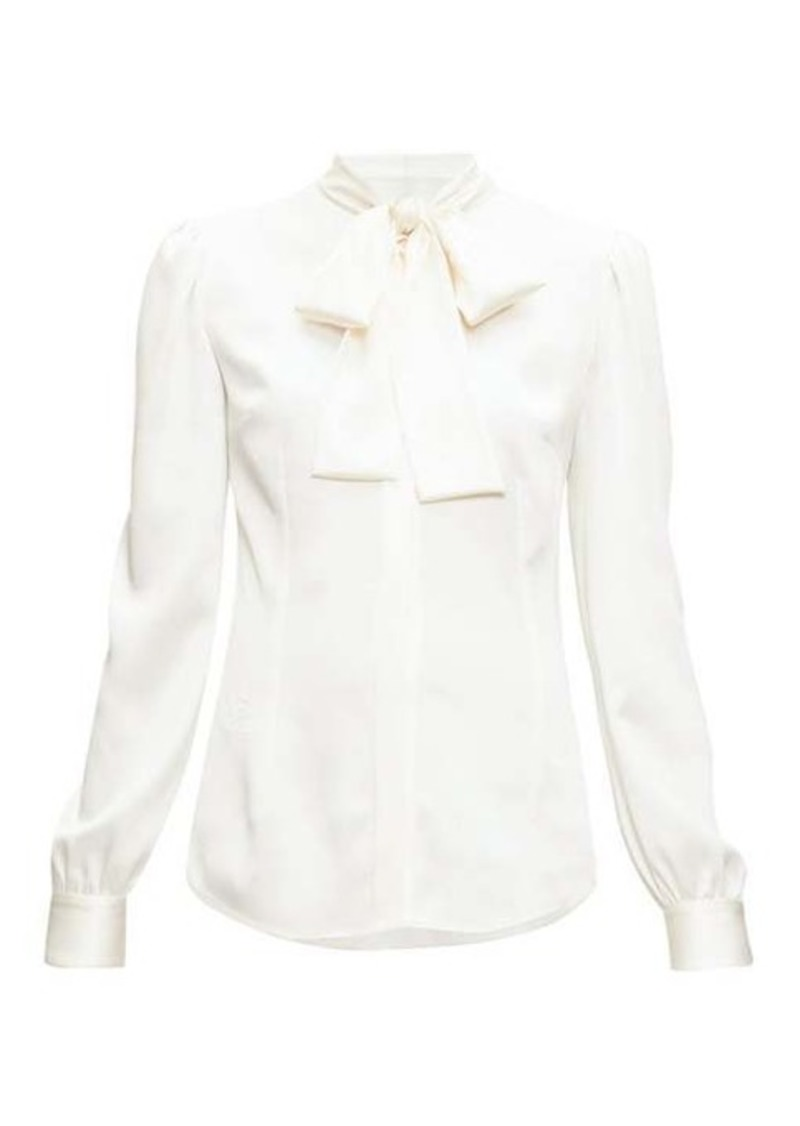 Dolce & Gabbana Pussy-bow silk-blend satin blouse