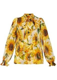 Dolce & Gabbana Pussy-bow sunflower-print chiffon blouse