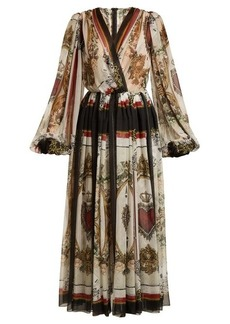 Dolce & Gabbana Queen of hearts and floral-print silk dress