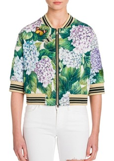 Dolce & Gabbana Quilted Hydrangea-Print Silk Charmeuse Cropped Bomber Jacket