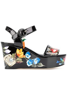 Dolce & Gabbana Bianca romantic wedge sandals - Black