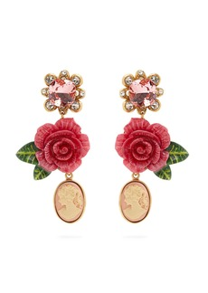 Dolce & Gabbana Rose and crystal-drop clip-on earrings