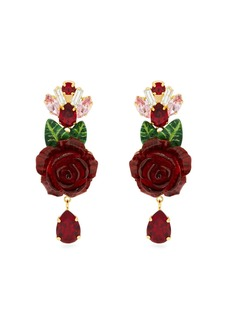 Dolce & Gabbana Rose and crystal-drop earrings