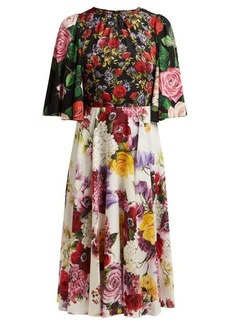Dolce & Gabbana Rose and hydrangea-print silk-charmeuse midi dress