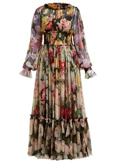 Dolce & Gabbana Rose and hydrangea-print silk-georgette gown