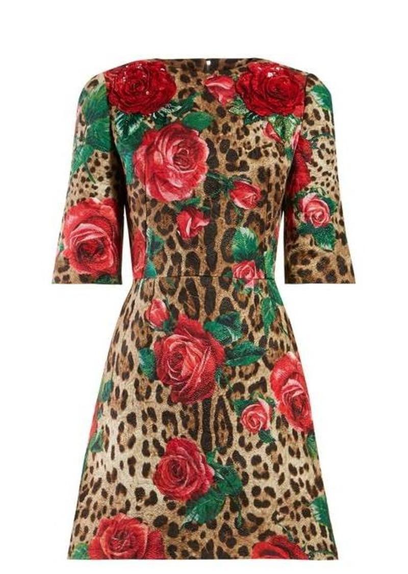 Dolce & Gabbana Rose and leopard-print cloqué dress