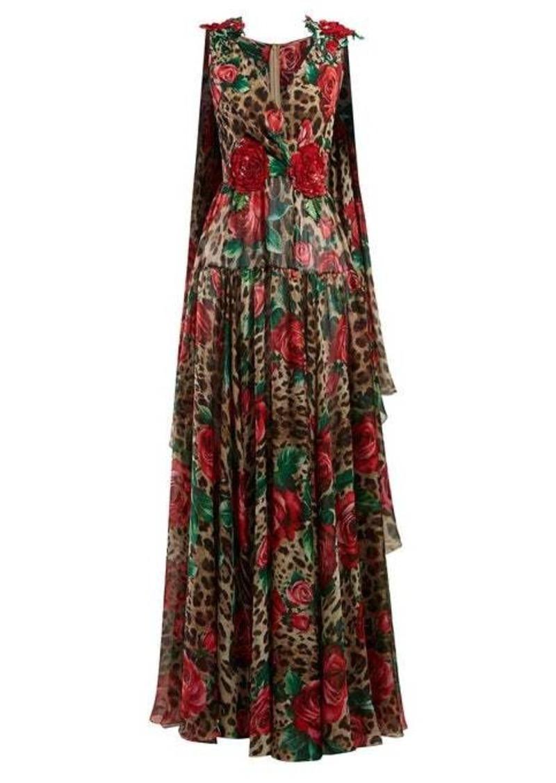 Dolce & Gabbana Rose and leopard-print silk-chiffon gown