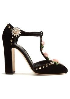 Dolce & Gabbana Rose-embellished T-bar velvet pumps