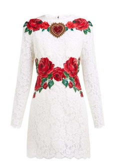 Dolce & Gabbana Rose-embroidered lace mini dress