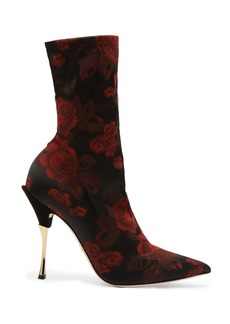 Dolce & Gabbana Rose-jacquard sock ankle boots