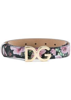 Dolce & Gabbana rose print belt - Black