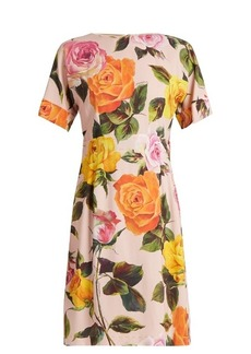 Dolce & Gabbana Rose-print cady dress