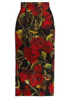 Dolce & Gabbana Rose-print charmeuse pencil skirt