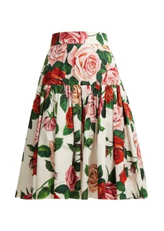 Dolce & Gabbana Rose-print cotton-poplin midi skirt
