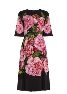 Dolce & Gabbana Rose-print crepe dress