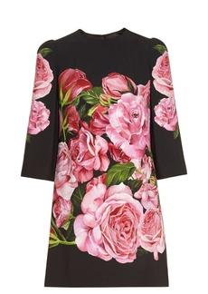 Dolce & Gabbana Rose-print crepe mini dress