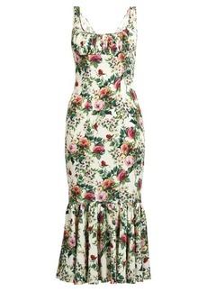 Dolce & Gabbana Rose-print gathered-hem charmeuse dress