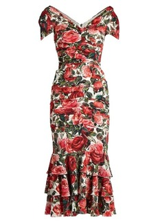 Dolce & Gabbana Rose-print ruched silk-blend jersey dress