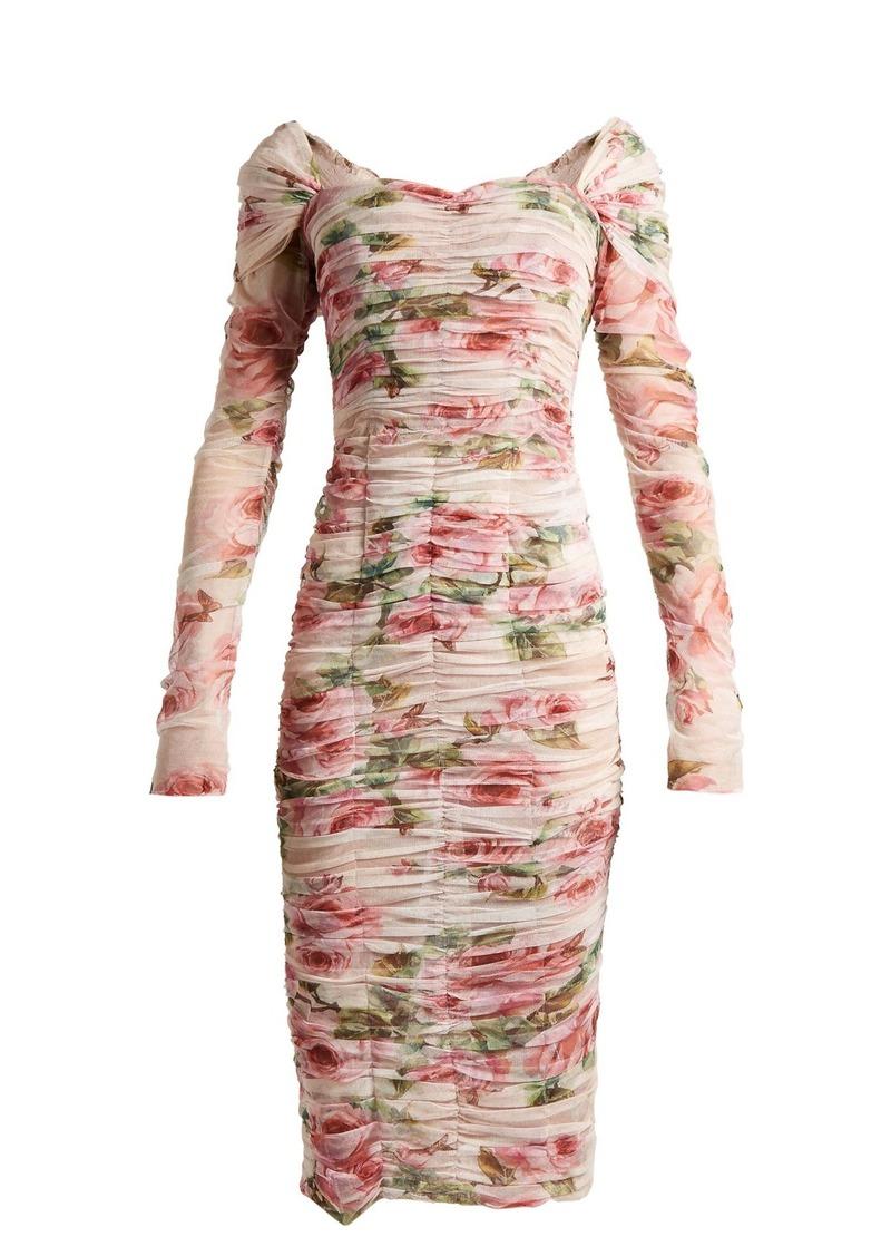 eac181b40855 Dolce   Gabbana Dolce   Gabbana Rose-print ruched-tulle dress