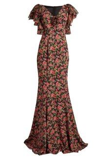 Dolce & Gabbana Rose-print ruffled-sleeve chiffon gown