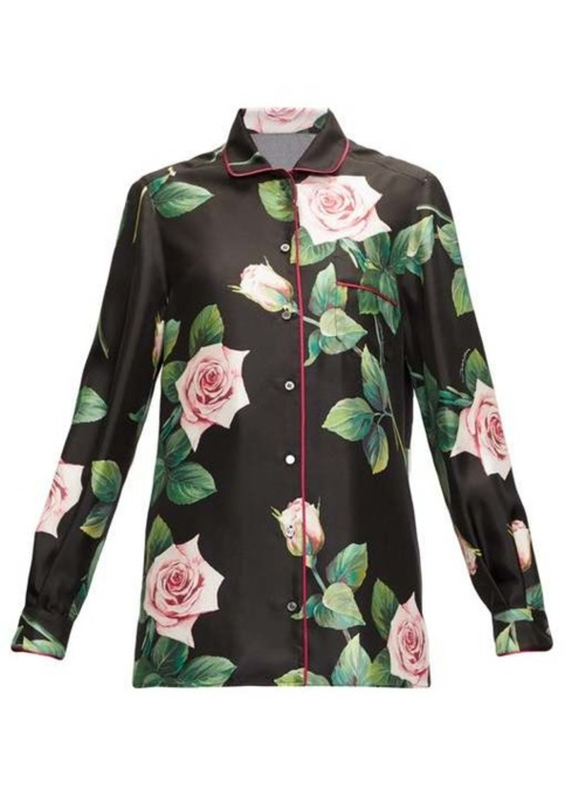 Dolce & Gabbana Rose-print silk-satin shirt