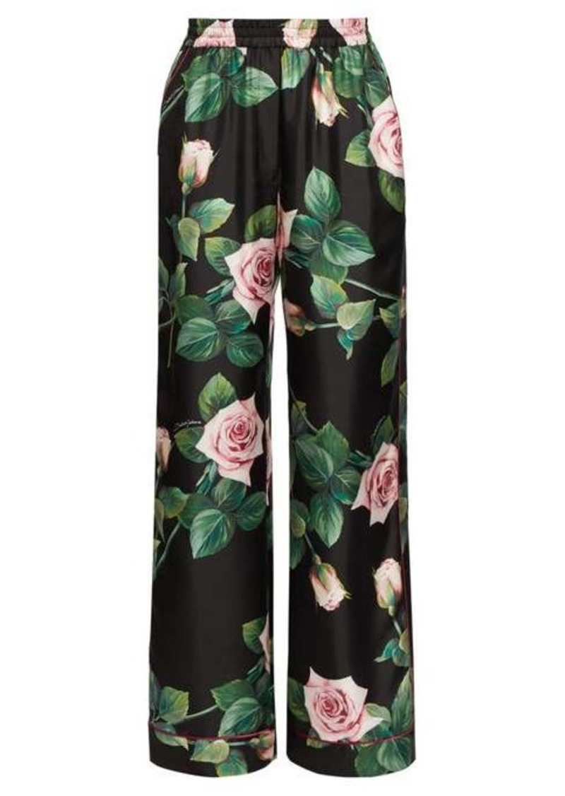 Dolce & Gabbana Rose-print silk wide-leg trousers