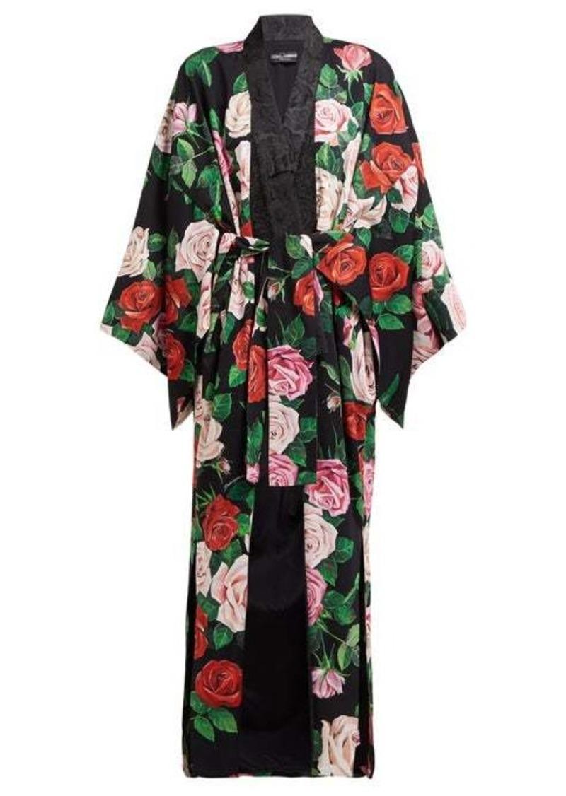Dolce & Gabbana Rose-print silk-blend crepe coat