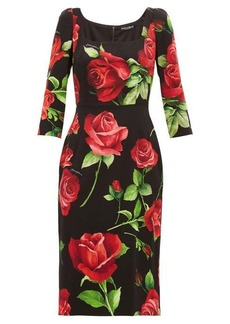 Dolce & Gabbana Rose-print silk-blend crepe dress