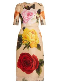Dolce & Gabbana Rose-print silk-blend organza midi dress