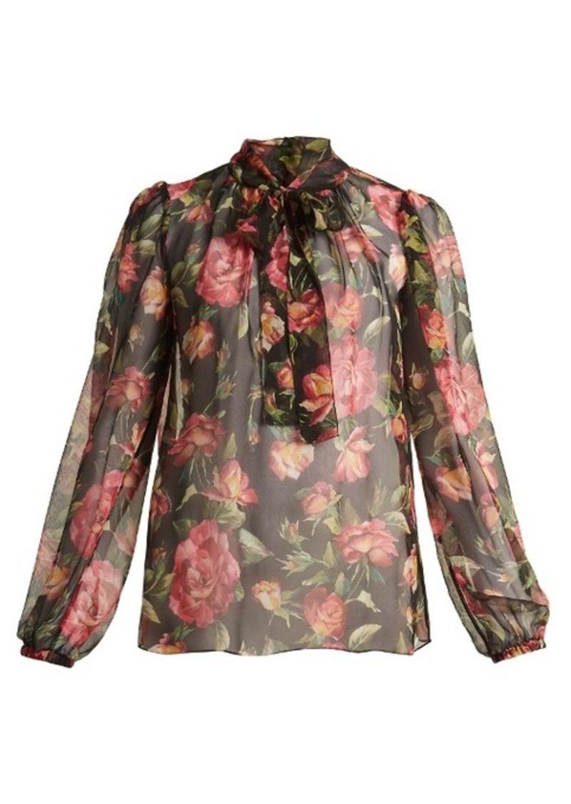 8c05eefe8a1efa SALE! Dolce   Gabbana Dolce   Gabbana Rose-print silk-chiffon blouse