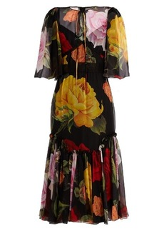 Dolce & Gabbana Rose-print silk-chiffon midi dress