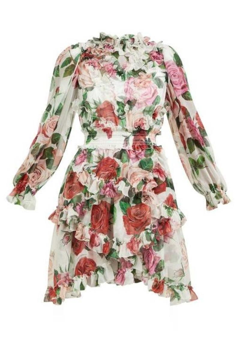 Dolce & Gabbana Rose-print silk-chiffon ruffled mini dress