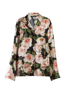 Dolce & Gabbana Rose-print silk pyjama shirt